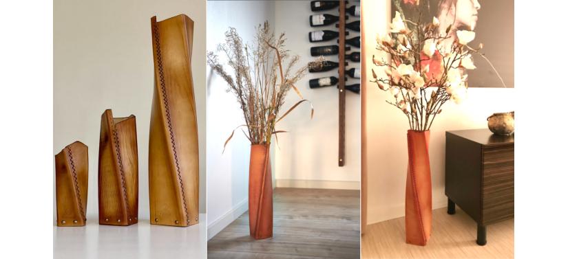 V-center Эксклюзивная кожаная ваза ручной работы